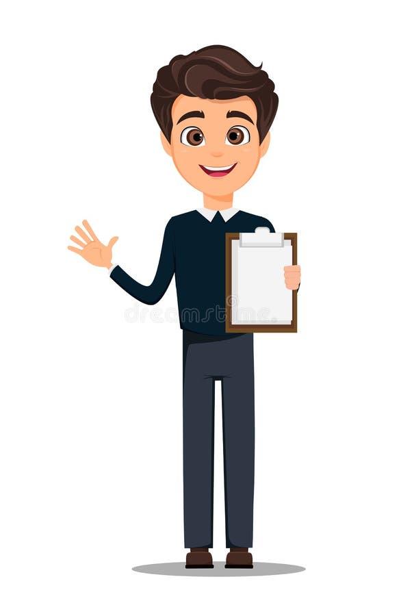 Νέος όμορφος χαμογελώντας επιχειρηματίας στα έξυπνα περιστασιακά ενδύματα που κρατά την κενή περιοχή αποκομμάτων απεικόνιση αποθεμάτων