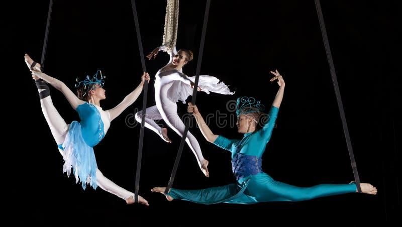 Νέος gymnast αέρα τσίρκων ζευγών στοκ φωτογραφίες
