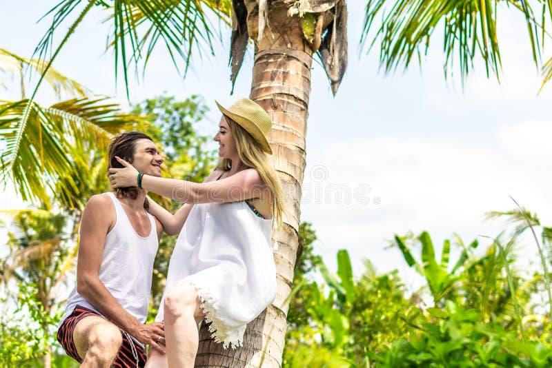 Νέος romatic τουρίστας ζευγών κάτω από το φοίνικα καρύδων Βεραμάν και κίτρινη εικόνα Νησί του Μπαλί Ινδονησία στοκ εικόνα