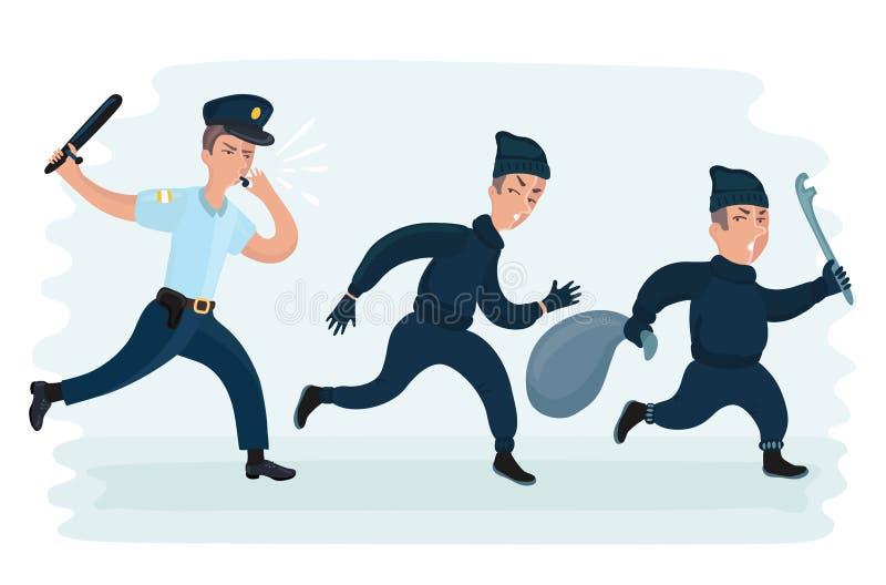 Νέο άτομο αστυνομίας που τρέχει χαράζοντας τη διαφυγή κλεφτών με την κλεμμένη τσάντα απεικόνιση αποθεμάτων