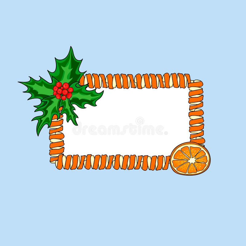 Νέο έμβλημα έτους Θέση για το κείμενο σε ένα πλαίσιο της πορτοκαλιάς φλούδας στοκ εικόνες με δικαίωμα ελεύθερης χρήσης