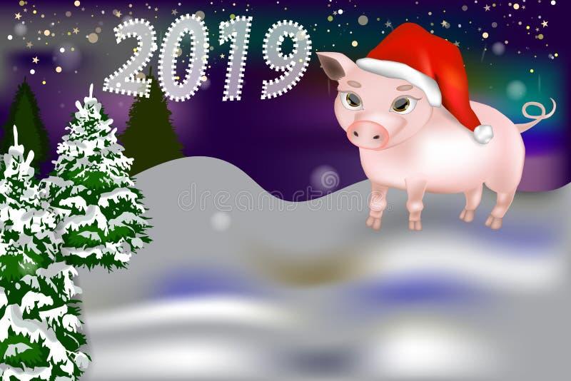 Νέο έμβλημα έτους 2019 με το χαριτωμένο χοίρο διανυσματική απεικόνιση