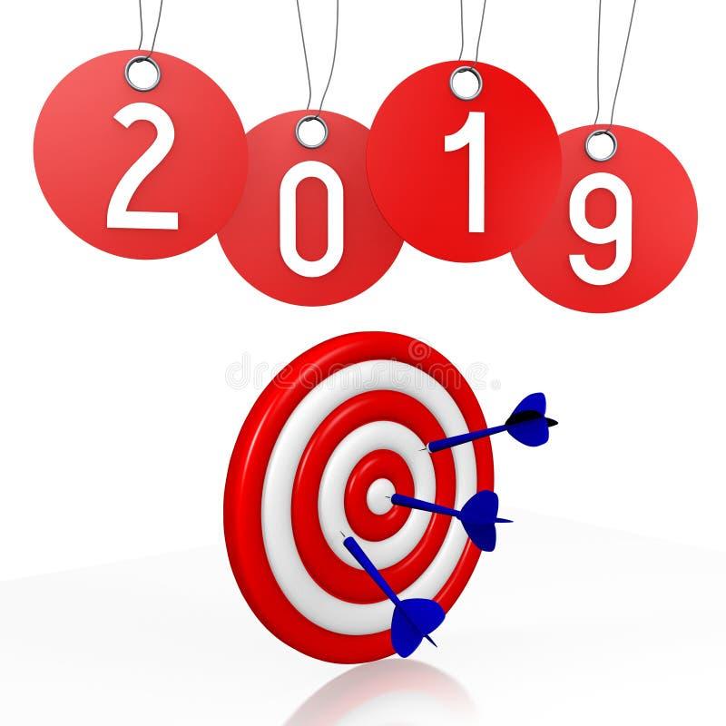 2019 νέο έτος, έννοια επιτυχίας - βέλη, τιμές ελεύθερη απεικόνιση δικαιώματος