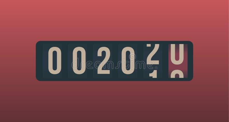 2020 νέο έτος Αναλογική αντίθετη επίδειξη, αναδρομικό σχέδιο ύφους r ελεύθερη απεικόνιση δικαιώματος
