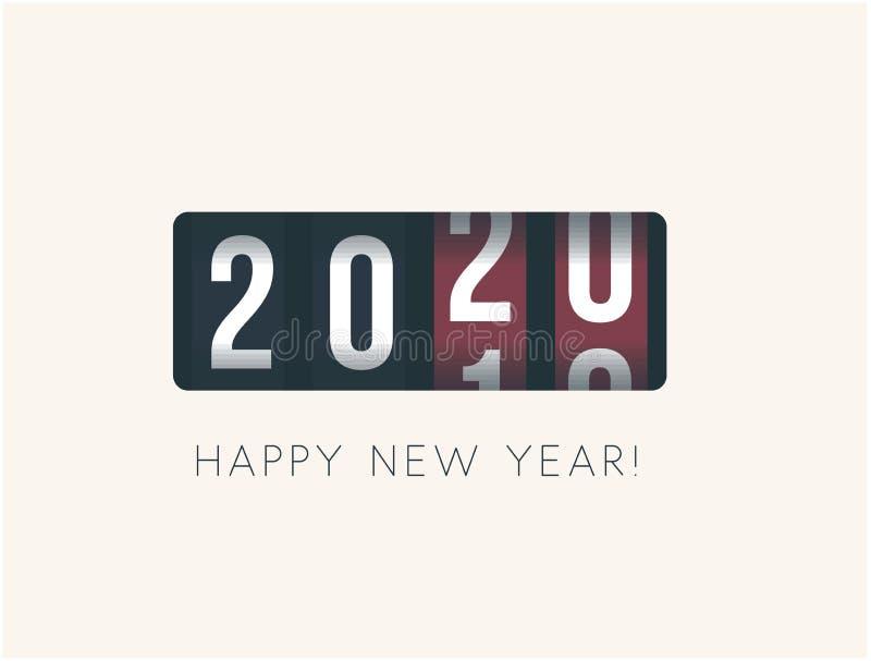 2020 νέο έτος Αναλογική αντίθετη επίδειξη, αναδρομικό σχέδιο ύφους r απεικόνιση αποθεμάτων