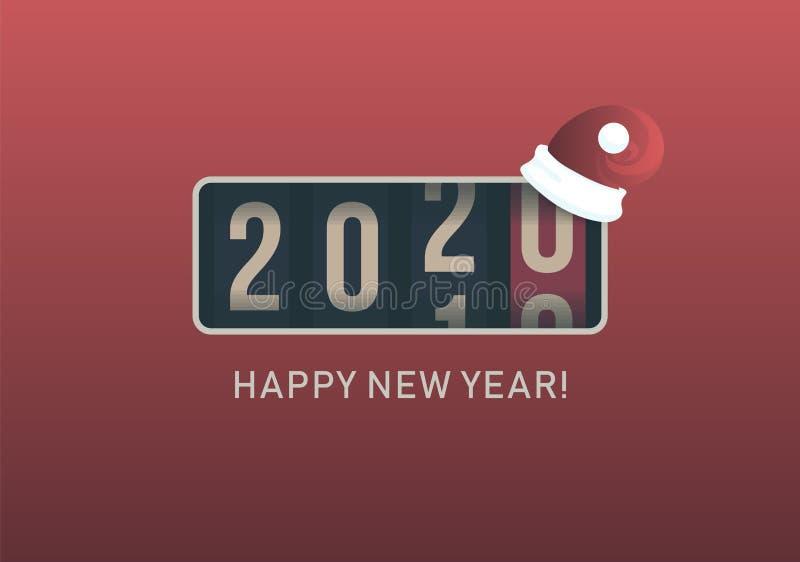2020 νέο έτος Αναλογική αντίθετη επίδειξη με το καπέλο santa Χριστουγέννων, αναδρομικό σχέδιο ύφους r ελεύθερη απεικόνιση δικαιώματος