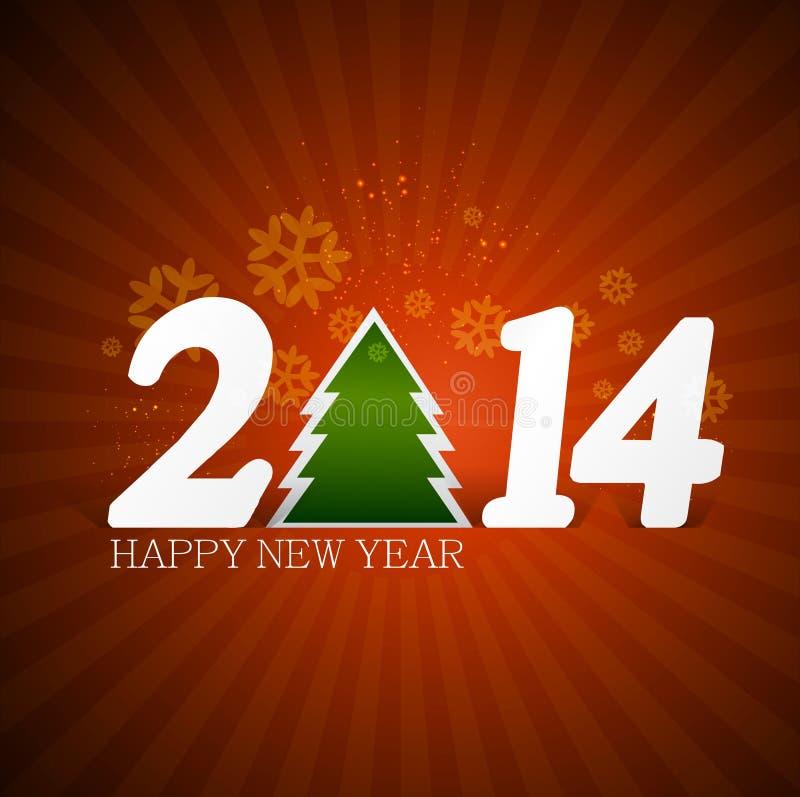 Νέο έτος για την κάρτα 2014 πρόσκλησης Χαρούμενα Χριστούγεννας ελεύθερη απεικόνιση δικαιώματος