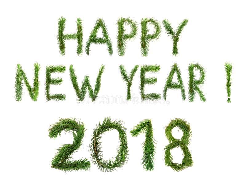 2018 νέο έτος Δύο χιλιάες δεκαοχτώ Λέξεις καλή χρονιά ongratulation Ð ¡ στα αγγλικά Τα αντικείμενα αποτελούνται από τους κλάδους  στοκ φωτογραφίες
