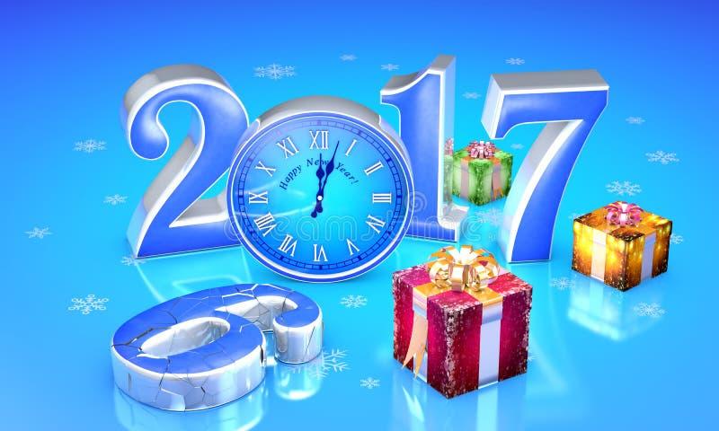 νέο έτος 2017 Δώρα νεράιδων Χριστουγέννων Όμορφα κιβώτια, ρολόι Τ διανυσματική απεικόνιση