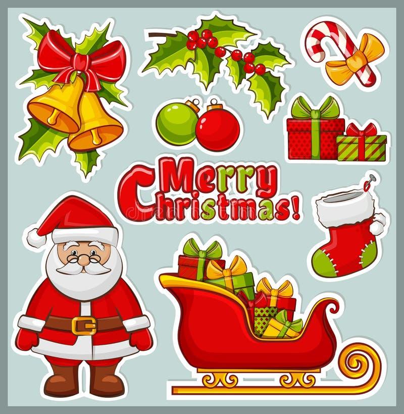 νέο έτος εικονιδίων Χριστουγέννων πηγαίνετε περισσότερο το χαρτοφυλάκιό μου βλέπει τις καθορισμένες αυτοκόλλητες ετικέττες στο δι διανυσματική απεικόνιση