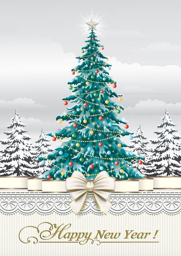 Νέο έτος 2019 Ευχετήρια κάρτα με ένα χριστουγεννιάτικο δέντρο απεικόνιση αποθεμάτων