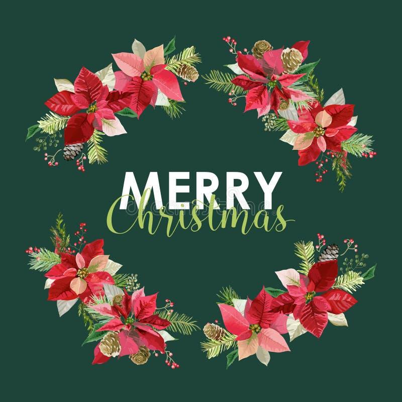 Νέο έτος και κάρτα Χριστουγέννων - εκλεκτής ποιότητας λουλούδια Poinsettia ελεύθερη απεικόνιση δικαιώματος