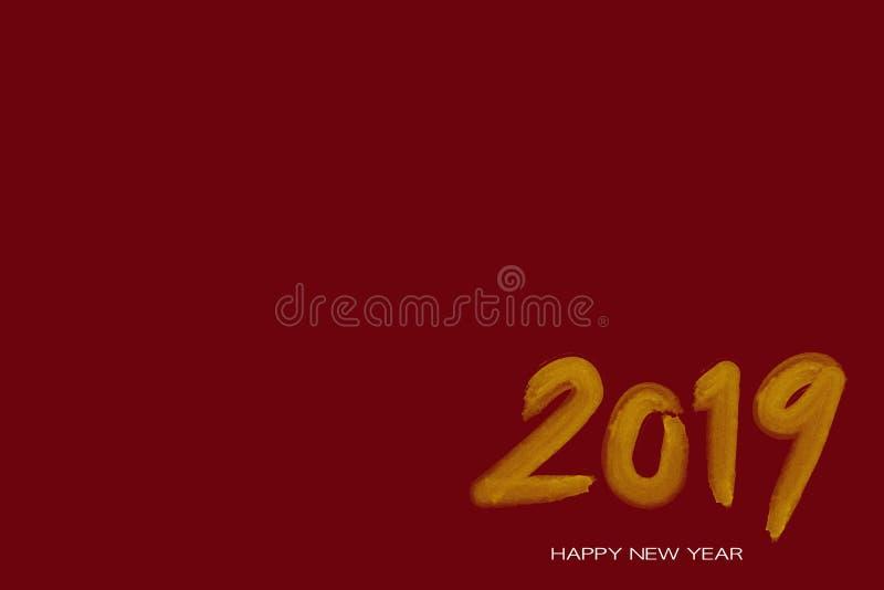 2019 νέο έτος Κείμενο χρυσό με το θάμνο υδατοχρώματος ελεύθερη απεικόνιση δικαιώματος
