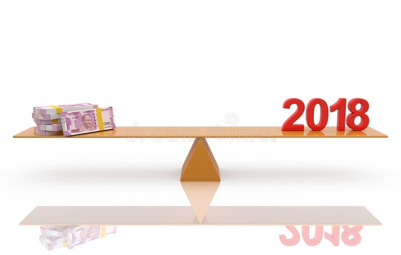 Νέο έτος 2018 με την ινδική ρουπία του 2000 διανυσματική απεικόνιση