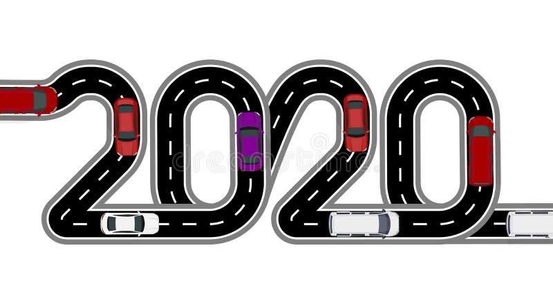 2020 νέο έτος Ο δρόμος είναι τυποποιημένη επιγραφή Αυτοκίνητα και φορτηγά o r απεικόνιση αποθεμάτων