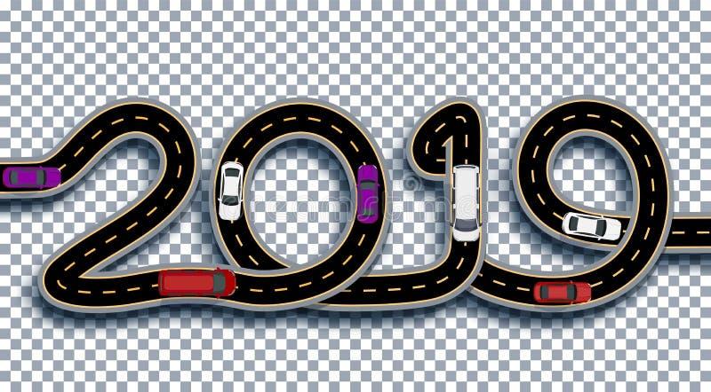 2019 νέο έτος Ο δρόμος είναι τυποποιημένος ως επιγραφή Φορτηγά και αυτοκίνητα Απομονωμένος στο διαφανές υπόβαθρο με τη σκιά απεικόνιση αποθεμάτων