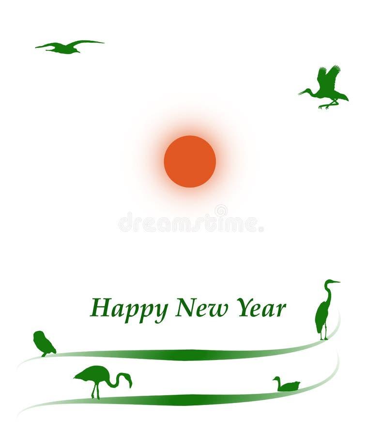 Νέο έτος που χαιρετά το πράσινο θέμα φύσης πουλιών περιβάλλοντος διανυσματική απεικόνιση