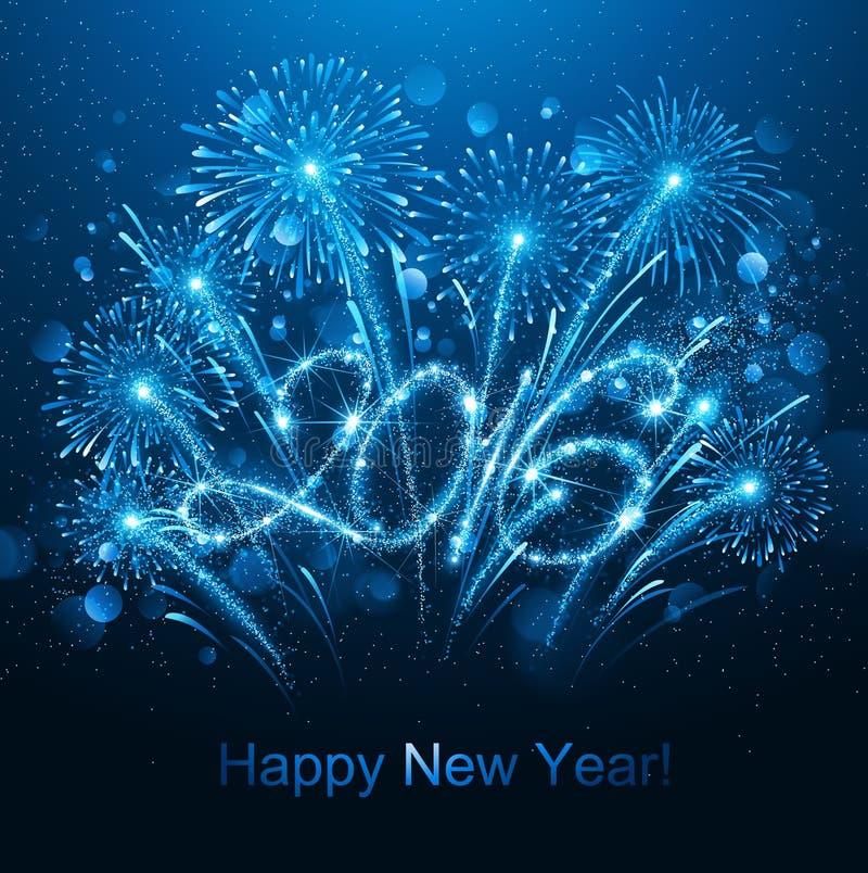 Νέο έτος 2016 πυροτεχνήματα απεικόνιση αποθεμάτων