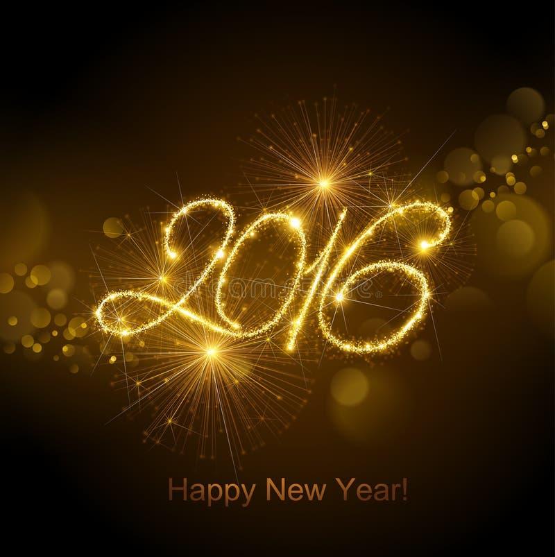 Νέο έτος 2016 πυροτεχνήματα ελεύθερη απεικόνιση δικαιώματος
