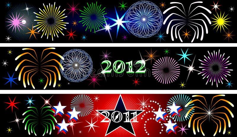 νέο έτος πυροτεχνημάτων εμ& διανυσματική απεικόνιση