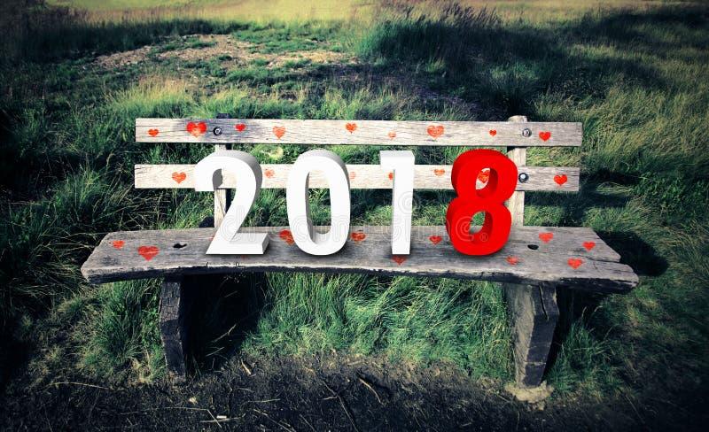 Νέο έτος 2018 στον ξύλινο πάγκο στοκ φωτογραφίες