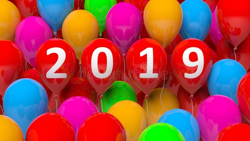 Νέο έτος 2019 στο ζωηρόχρωμο υπόβαθρο μπαλονιών τρισδιάστατη απεικόνιση απεικόνιση αποθεμάτων
