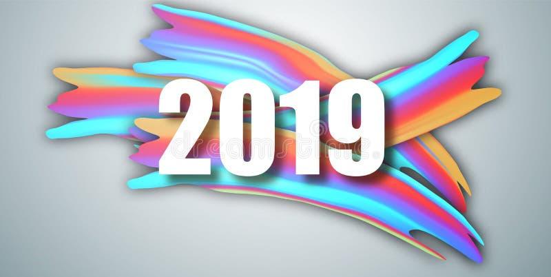 2019 νέο έτος στο υπόβαθρο ενός ζωηρόχρωμου πετρελαίου brushstroke ή ενός ακρυλικού στοιχείου σχεδίου χρωμάτων επίσης corel σύρετ απεικόνιση αποθεμάτων
