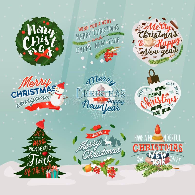 νέο έτος του 2018 και έμβλημα ή σημάδια Χριστουγέννων ελεύθερη απεικόνιση δικαιώματος