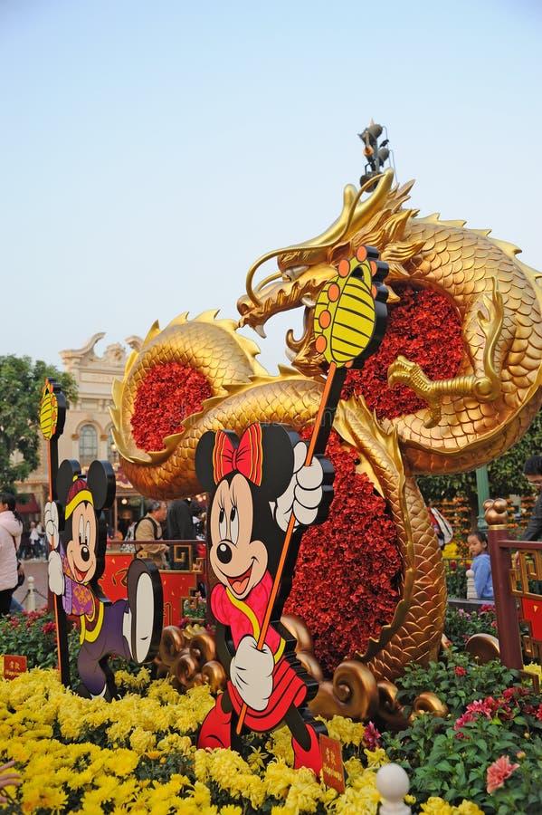 νέο έτος του Χογκ Κογκ disney του 2012 κινεζικό στοκ εικόνα