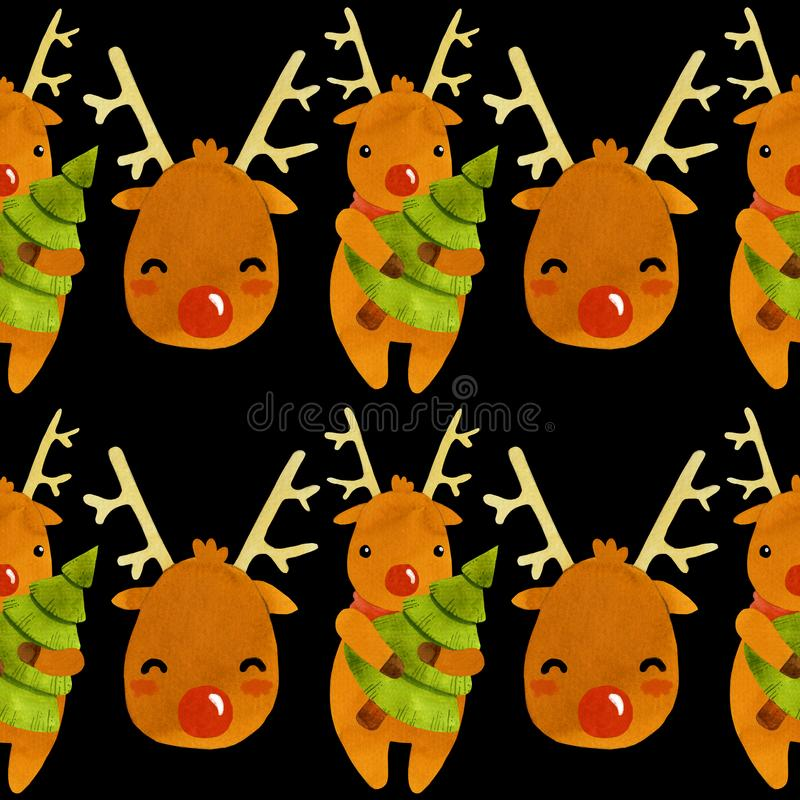 Νέο έτος του Rudolf ελαφιών σχεδίων με το δέντρο απεικόνιση αποθεμάτων