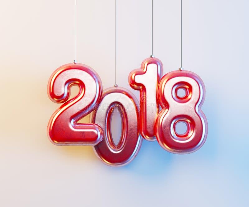 νέο έτος 2018, τρισδιάστατη απόδοση στοκ φωτογραφία με δικαίωμα ελεύθερης χρήσης