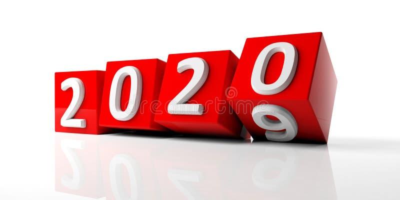 Νέο έτος 2020 ψηφία στους κόκκινους κύβους που απομονώνονται στο άσπρο υπόβαθρο τρισδιάστατη απεικόνιση διανυσματική απεικόνιση