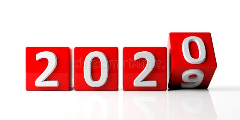 Νέο έτος 2020 ψηφία στους κόκκινους κύβους που απομονώνονται στο άσπρο υπόβαθρο τρισδιάστατη απεικόνιση ελεύθερη απεικόνιση δικαιώματος