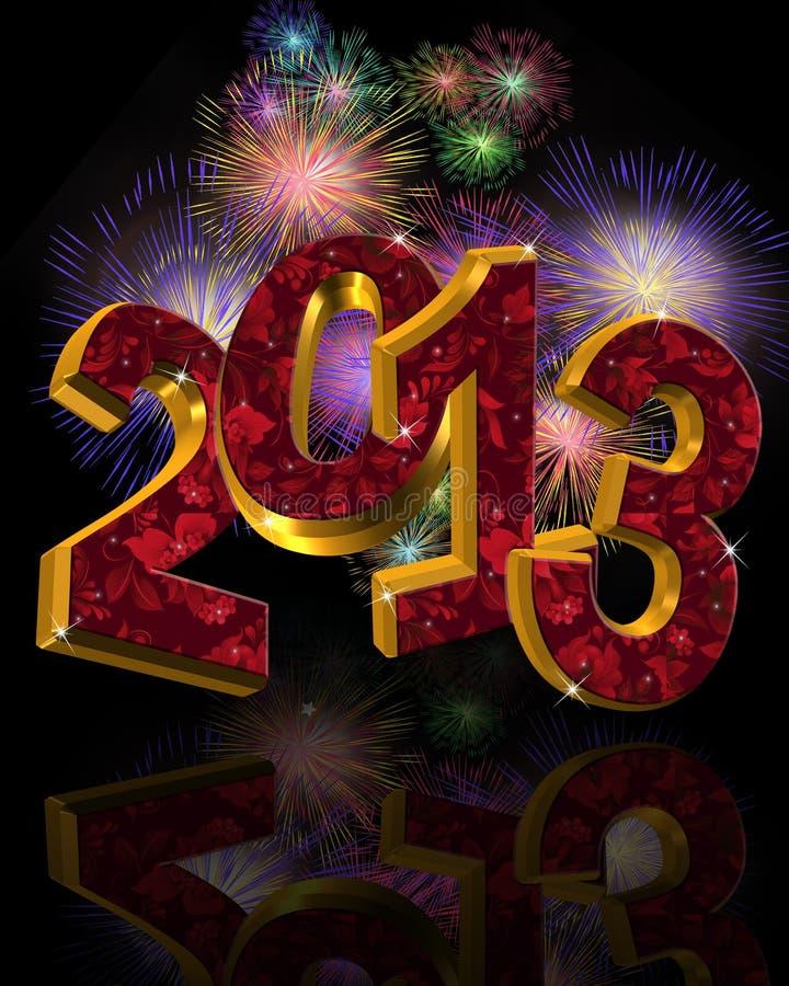 νέο έτος 2013 πυροτεχνημάτων ελεύθερη απεικόνιση δικαιώματος