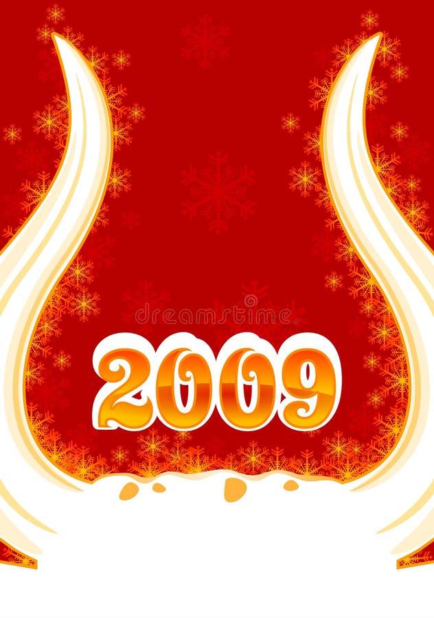 νέο έτος 3 κέρατων ανασκόπησ&et διανυσματική απεικόνιση
