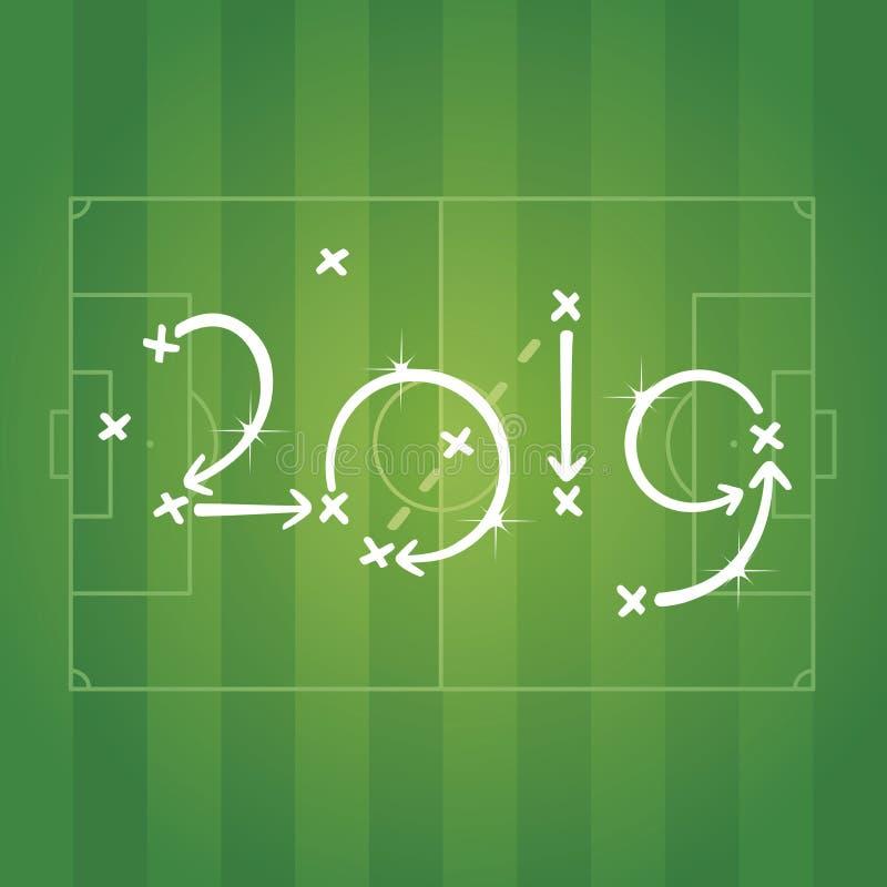 Νέο έτους 2019 ποδοσφαίρου στρατηγικής διάνυσμα υποβάθρου αθλητικών σταδίων τομέων σχεδίων πράσινο διανυσματική απεικόνιση