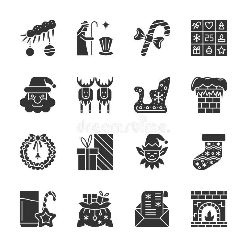 Νέο έτους σύνολο εικονιδίων σκιαγραφιών Χριστουγέννων μαύρο διανυσματική απεικόνιση