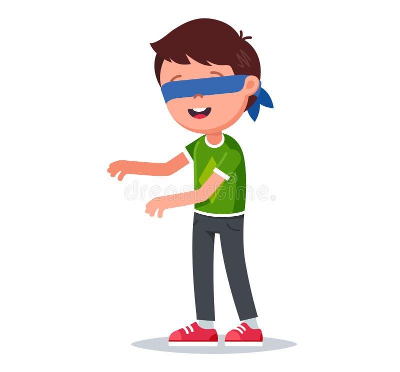 Νέο αγόρι με τις ιδιαίτερες προσοχές που παίζει τυφλό ανθρώπινο στιλβωμένο απεικόνιση αποθεμάτων