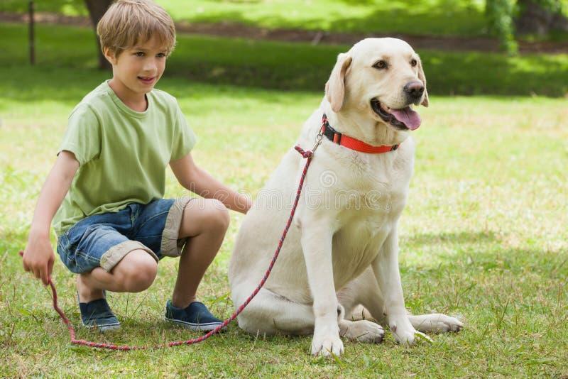 Νέο αγόρι με το σκυλί κατοικίδιων ζώων στο πάρκο στοκ εικόνα με δικαίωμα ελεύθερης χρήσης