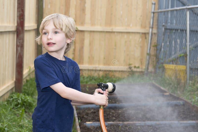 Νέο αγόρι που ποτίζει έναν προαστιακό κήπο στοκ εικόνα