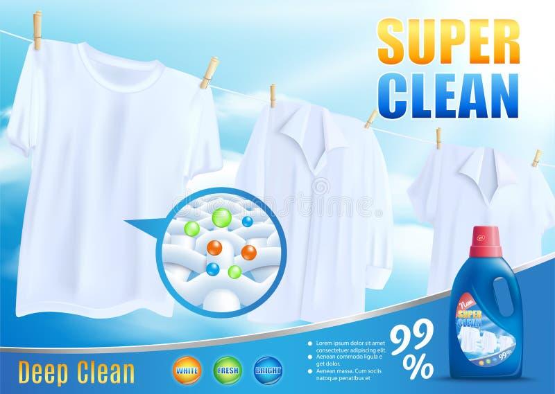 Νέο απορρυπαντικό για το έξοχο καθαρό διάνυσμα Promo πλύσης απεικόνιση αποθεμάτων