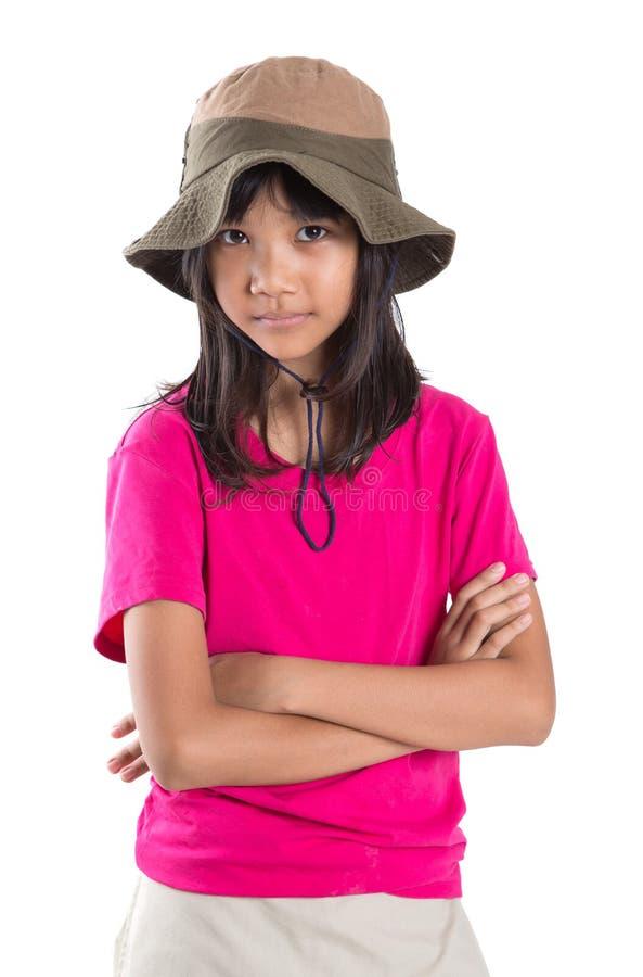 Νέο ασιατικό κορίτσι με το καπέλο Ι ψαράδων στοκ φωτογραφία με δικαίωμα ελεύθερης χρήσης