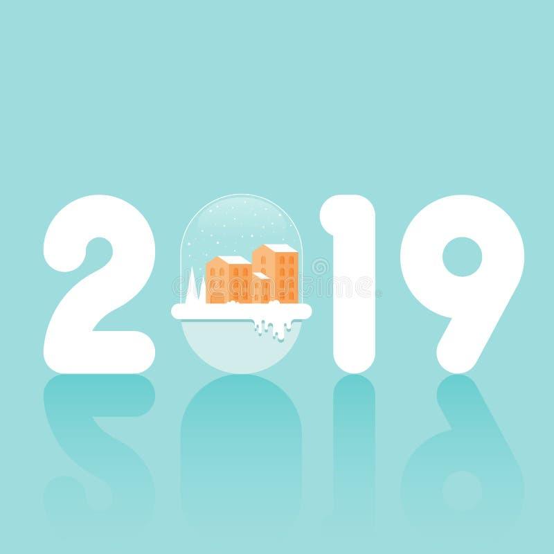 Νέο αφηρημένο υπόβαθρο έτους 2019 διακοσμητικό με τη εικονική παράσταση πόλης στο χιόνι διανυσματική απεικόνιση