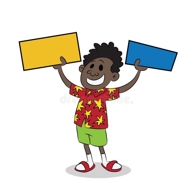 Νέο αφρικανικό μαύρο παιδί που κρατά ψηλά δύο σημάδια διανυσματική απεικόνιση