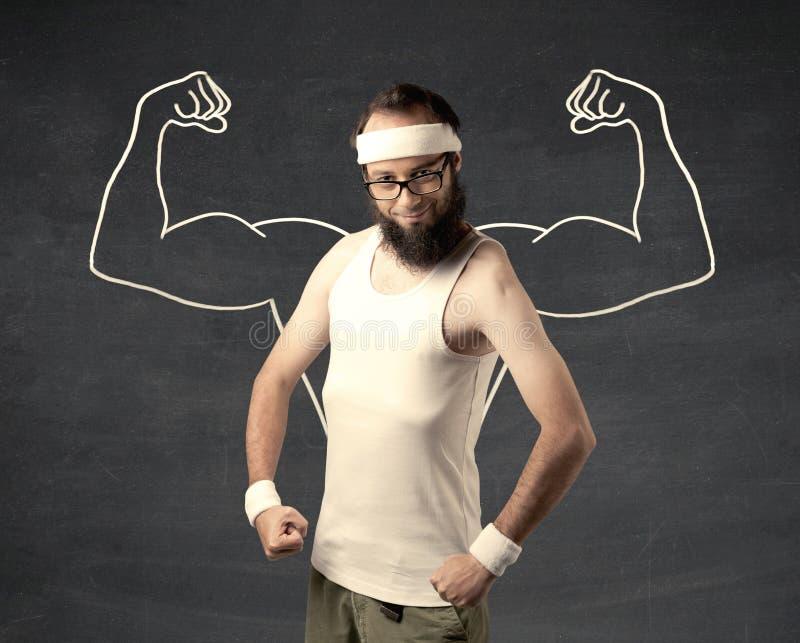 Νέο αδύνατο άτομο με τους συρμένους μυς στοκ φωτογραφίες με δικαίωμα ελεύθερης χρήσης