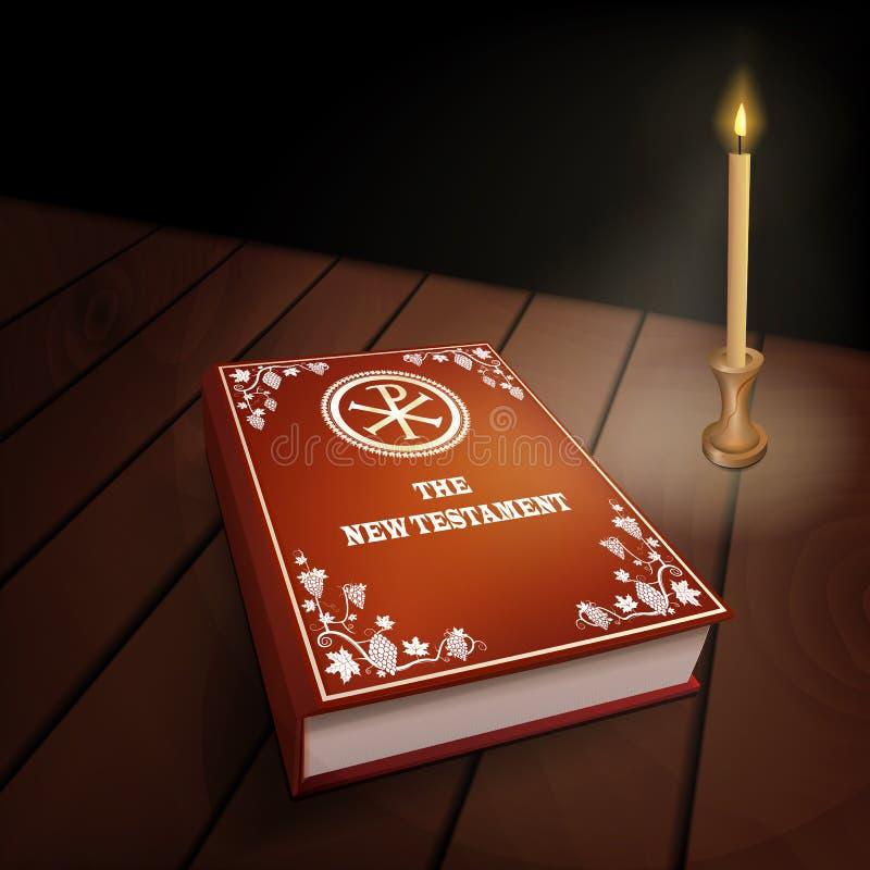 Νέο βιβλίο διαθηκών στον ξύλινο πίνακα με το κερί στοκ φωτογραφία με δικαίωμα ελεύθερης χρήσης
