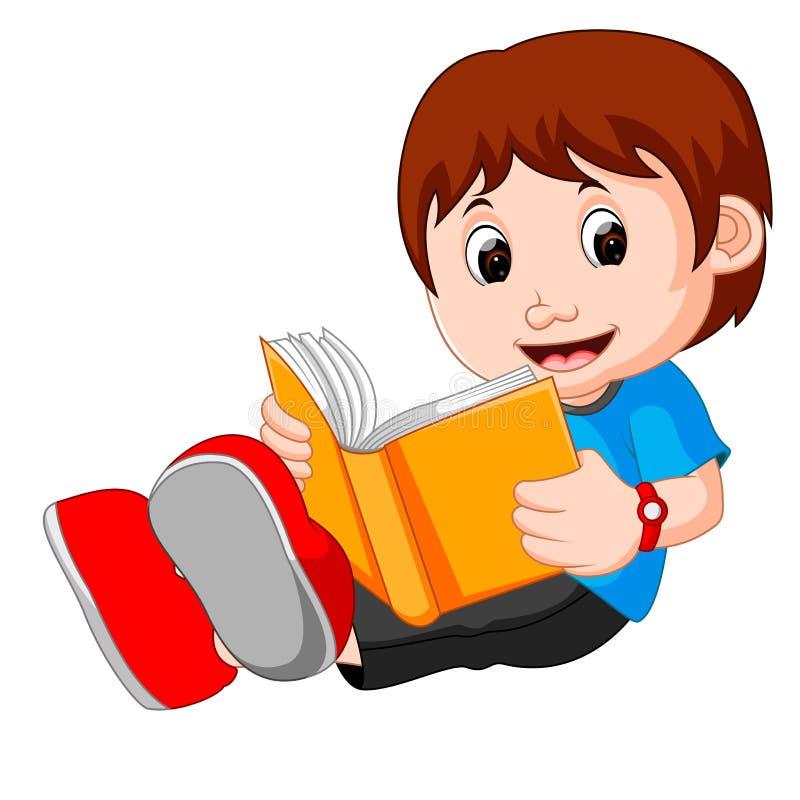 Νέο βιβλίο ανάγνωσης κινούμενων σχεδίων αγοριών διανυσματική απεικόνιση