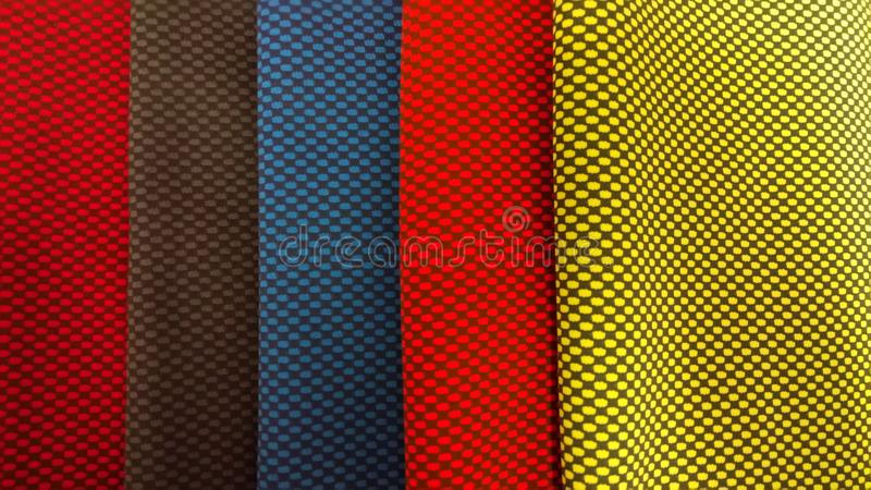 Νέο βιομηχανικό κίτρινο, πορτοκαλί, γκρίζο, μπλε και ιώδες υπόβαθρο ρόλων Έννοια: υλικό, ύφασμα, κατασκευή, εργοστάσιο ενδυμάτων, στοκ εικόνες με δικαίωμα ελεύθερης χρήσης