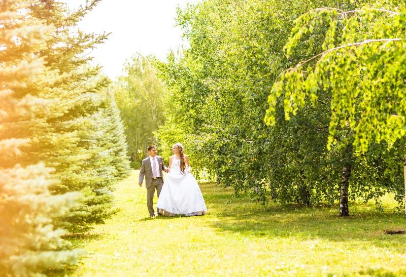 Νέο γαμήλιο ζεύγος που περπατά υπαίθρια στοκ εικόνα