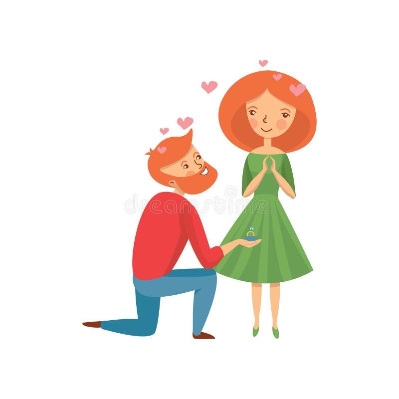 Νέο γενειοφόρο άτομο που κάνει την πρόταση στη φίλη του και που προσφέρει το δαχτυλίδι αρραβώνων Ρομαντικό ζεύγος Επίπεδο διανυσμ ελεύθερη απεικόνιση δικαιώματος